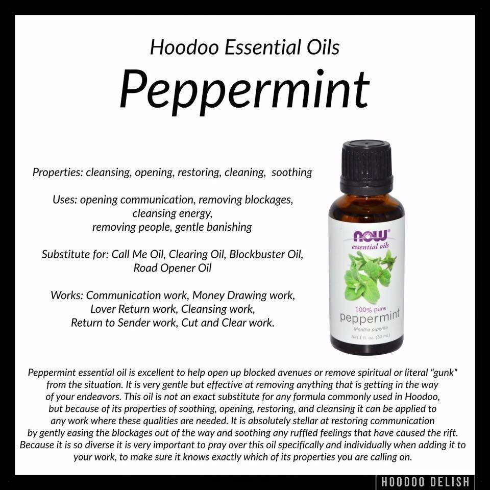 Peppermint oil | Spells | Voodoo hoodoo, Hoodoo spells, Wiccan spells