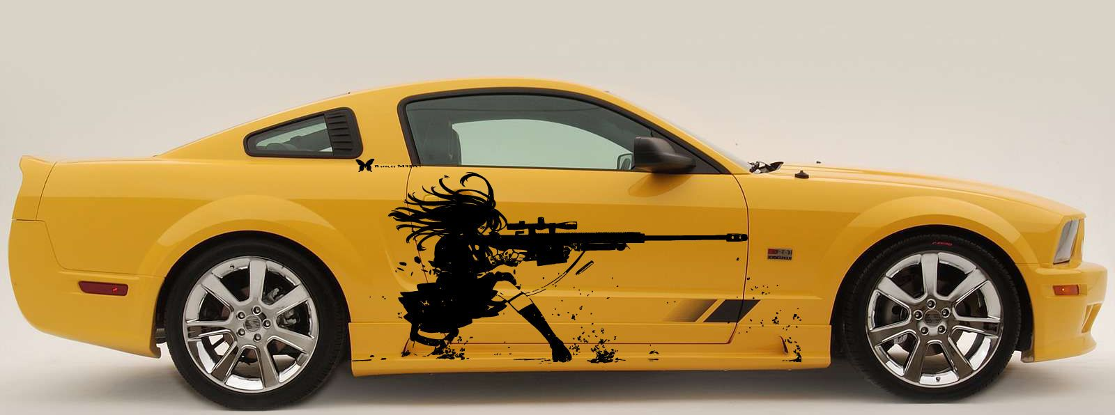 ANIME GIRL WITH A GUN Custom Wrap CAR VINYL SIDE GRAPHICS DECALS - Custom design car decals free