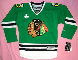 bfb066e1b Chicago Blackhawks Jersey Irish Green St Patrick s Reebok NHL hockey ...