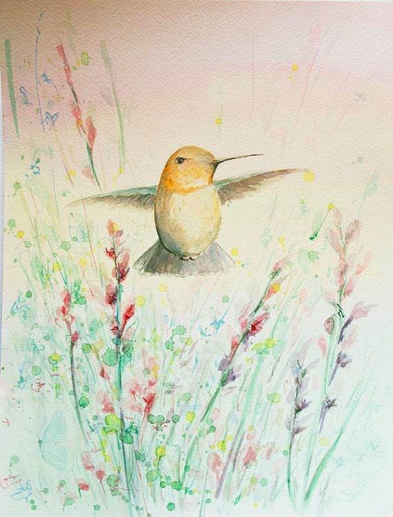 Original watercolor painting - hummingbird painting - colibri painting Etsyhttps://www.etsy.com/listing/233129221
