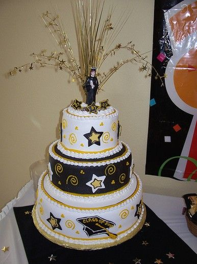 3 Tier Graduation Cake With White Gold And Black Color Jpg