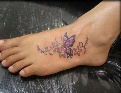 Cute Flowers And Butterfly Tattoos Ideas Best Tattoo Pictures Butterfly Foot Tattoo Foot Tattoos Foot Tattoos For Women
