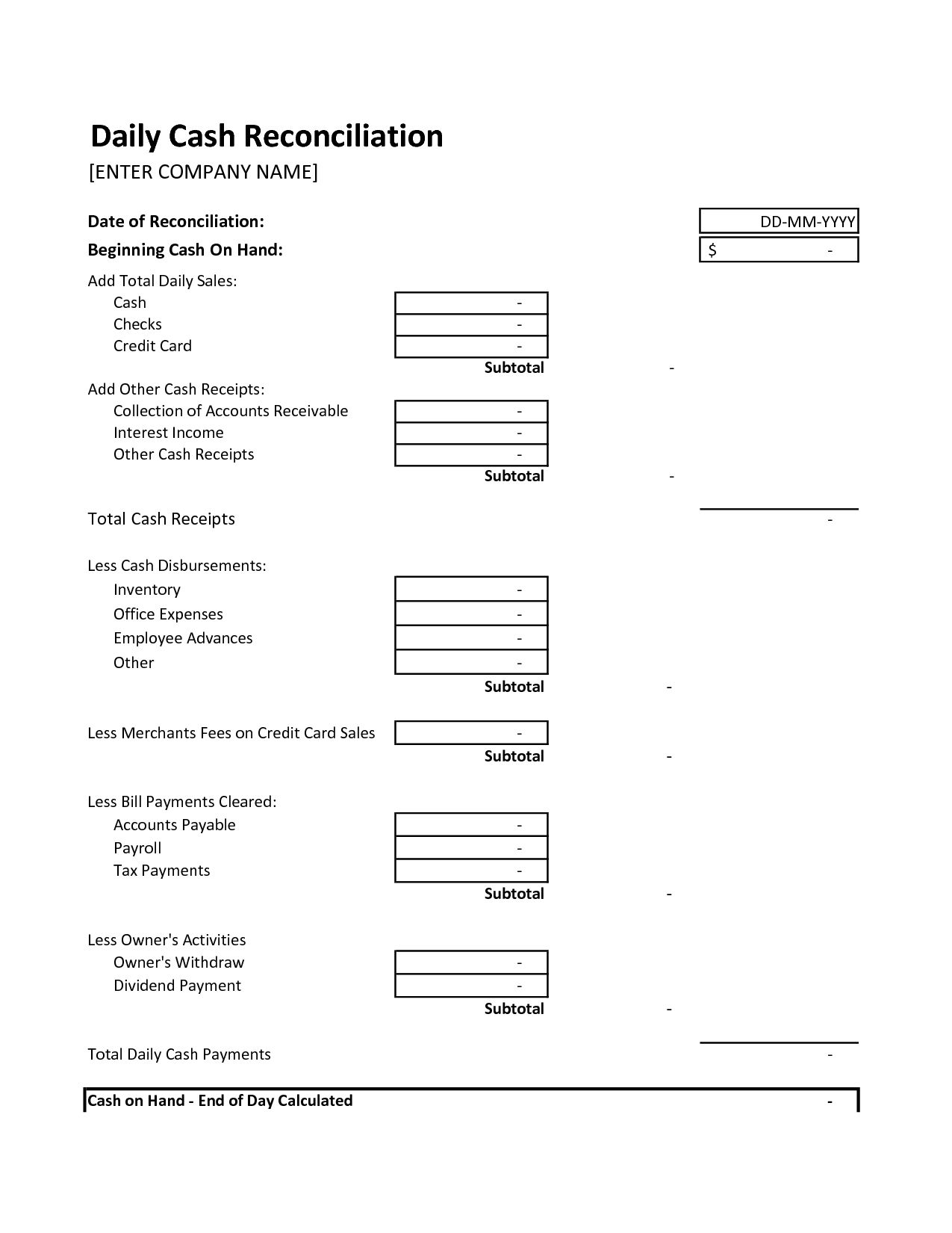 End Of Day Cash Register Report Template Google Search With End