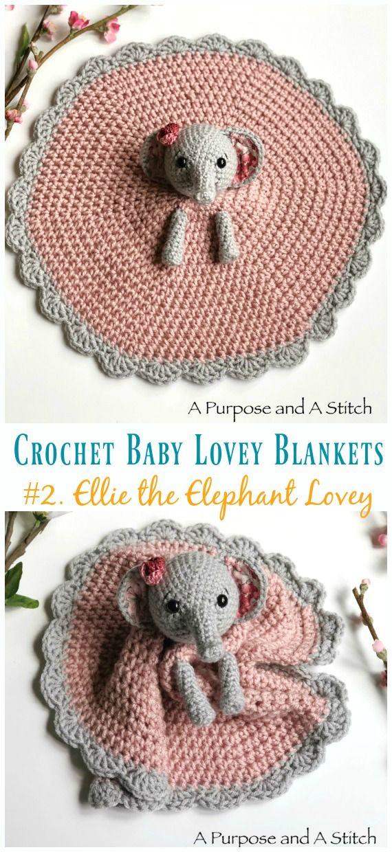 Baby Lovey Blanket Free Crochet Patterns #crochetelephantpattern