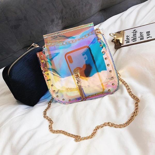 68cd01fc6 Hologram Laser Clear Jelly Transparent Bag   Bag Shop   Bags ...