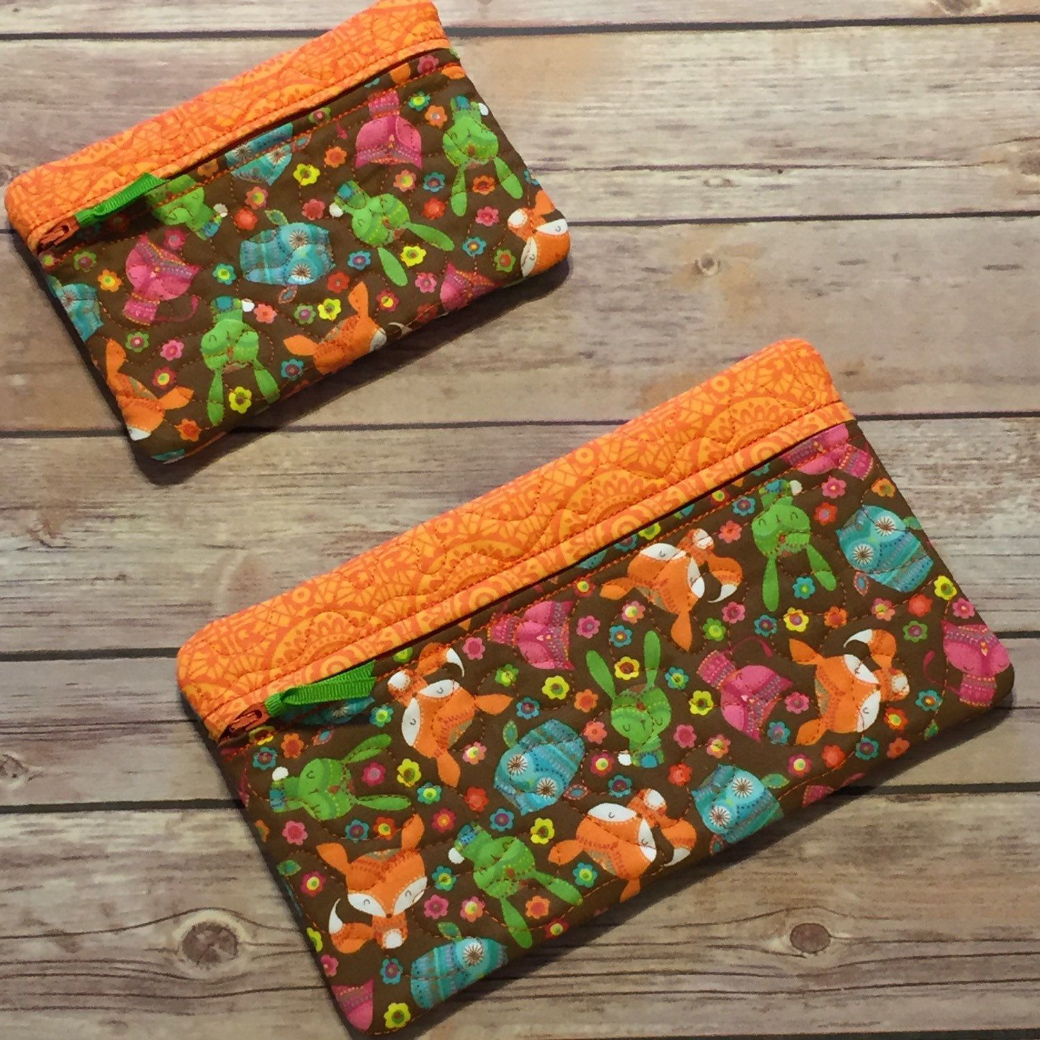 woodland animal print cute bags for kids cosmetic bags make up