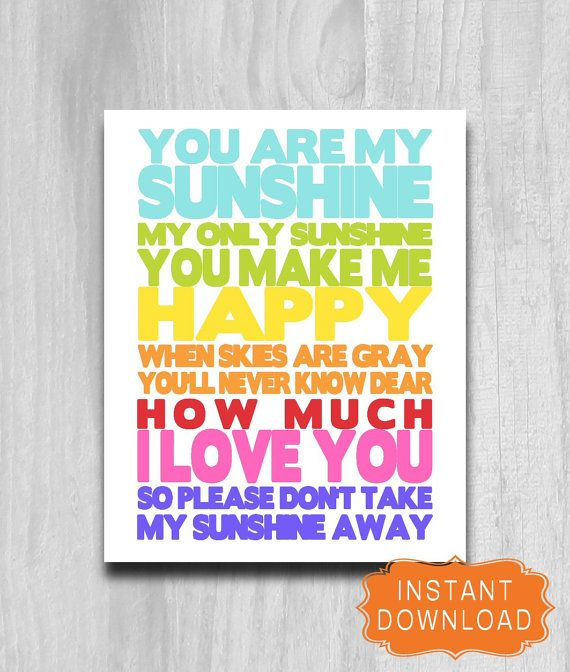 You Are My Sunshine Rainbow Typography Nursery by PrintablePrints, $5.00