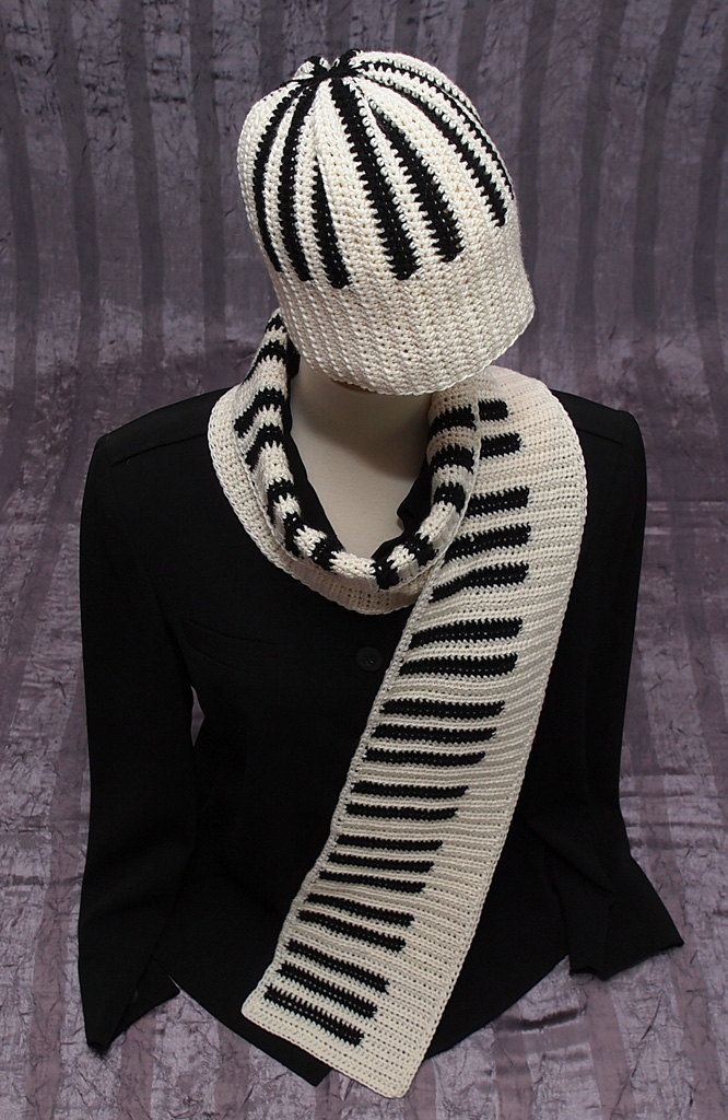 PIANO SCARF And HAT Set Pianokeys Unisex Gift For Her Him Keyboard ...