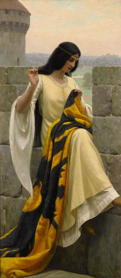 """Edmund Blair Leighton (1853–1922), """"Stitching the Standard"""" (1911)  Oil on canvas, 98 x 44 cm  Private collection"""