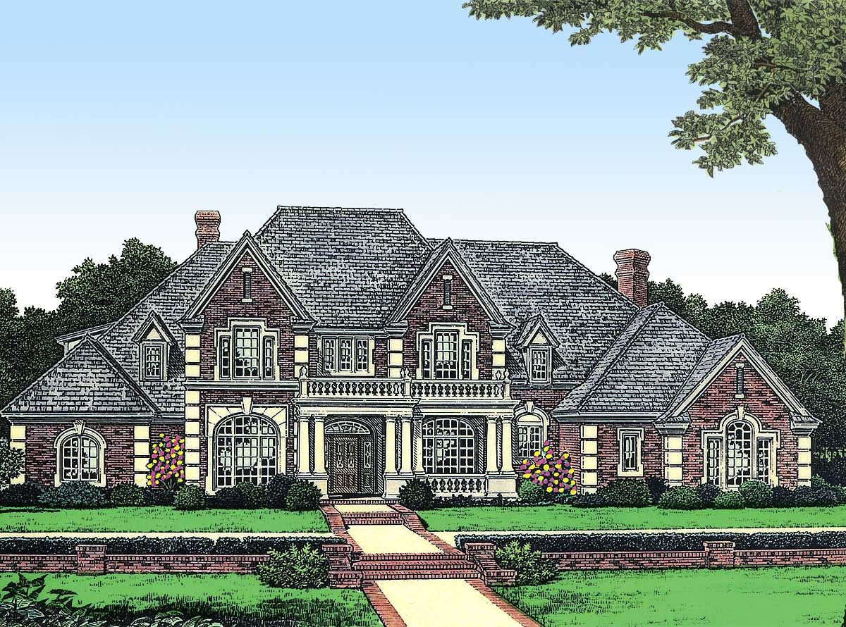 Plan 48010fm Stately Manor In Two Versions House Plans French Country House Plans Luxury House Plans