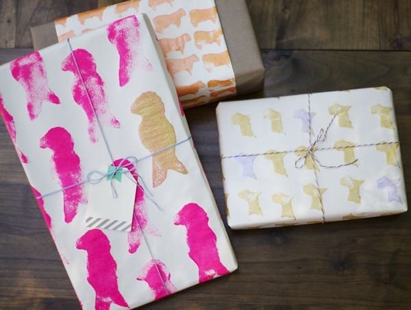 Sponge Stamped Wrapping Paper Cute Gift Wrapping Ideas Easy Crafts For Kids Wraps