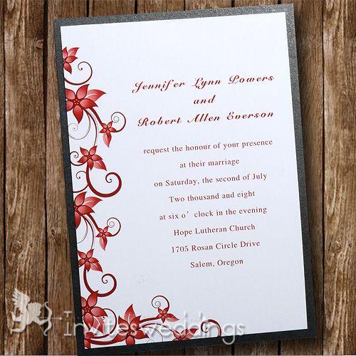 passionate red floral black layered wedding invites iwfc002 wedding invitations online invitesweddingscom - Black And Red Wedding Invitations
