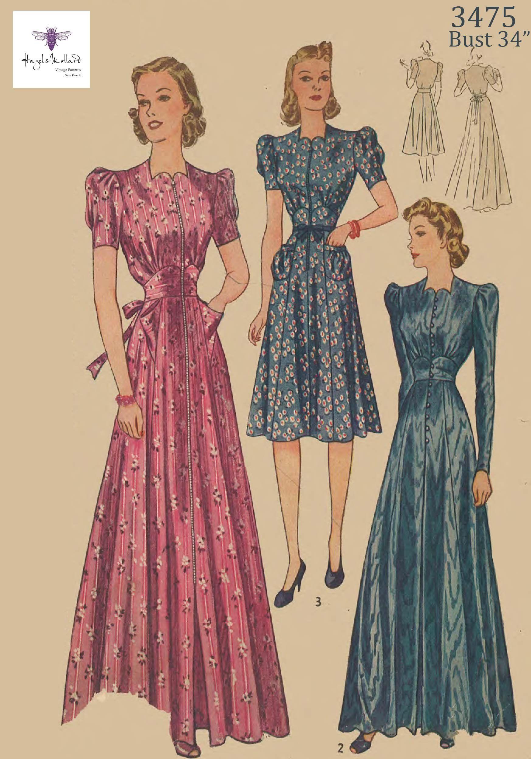 Vintage 1930 S 1940 S Elegant Women S House Coat Etsy 1940s Dress Pattern Gown Pattern 40s Dress Pattern