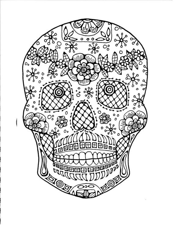 Sugar Skull Coloring Page to Print and Color, Inspirational Quote ...