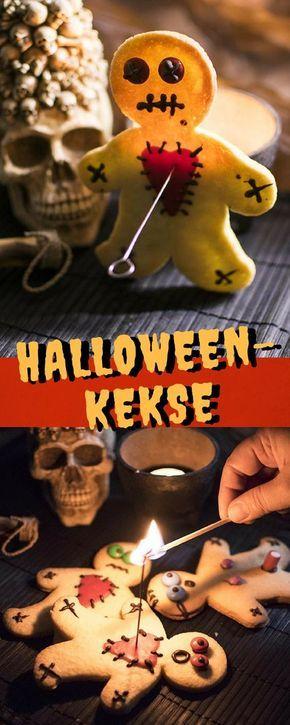 Halloweenkekse mit einfachem Butterkeksteig - Dekor Voodo