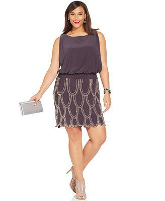0d4c061a3f Betsy   Adam Plus Size Studded Scalloped Blouson Dress