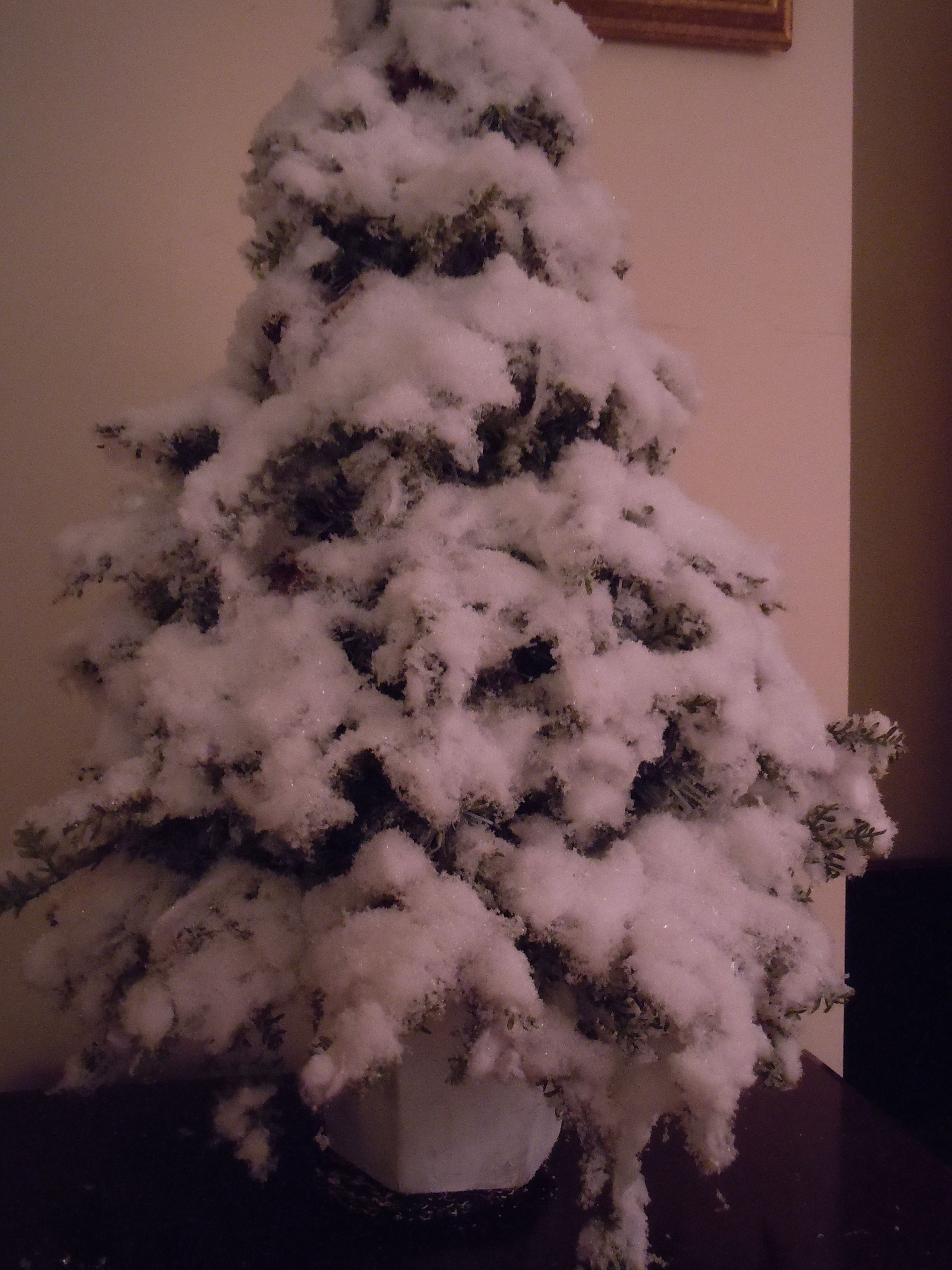 Snow Tree Take Cheap Fake Tree Spray With Glue Add Some Torn Cotton Balls Spray With Glue Again And Christmas Decor Diy Christmas Diy Christmas Decorations