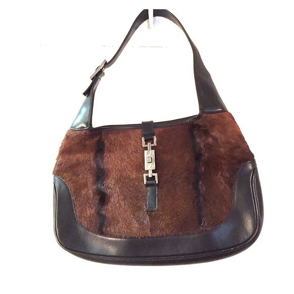 ccf6770db5a Authentic Gucci Jackie o pony fur handbag authentic Gucci hobo with  contemporary appeal. cappuccino brown