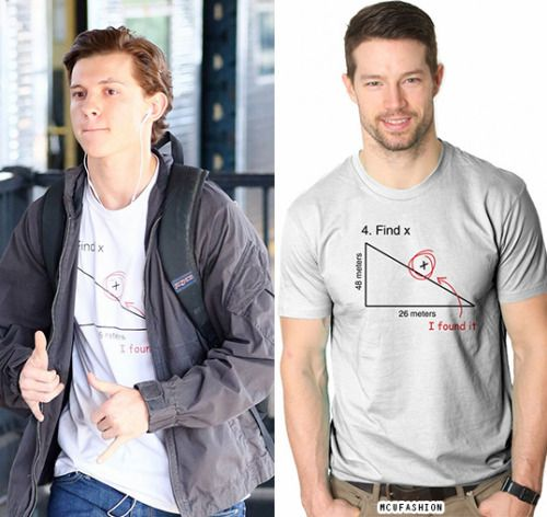 6672f99b9 WHO: Tom Holland as Peter Parker WHAT: Crazy Dog T-Shirts Find X T-Shirt -  $16.99 WHERE: Spider-Man: Homecoming