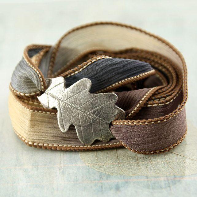 Oak Leaf Bracelet In Silver Silk Ribbon Wrap Woodland Colours