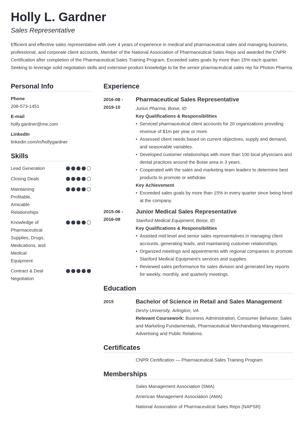 sales representative resume example template simple in