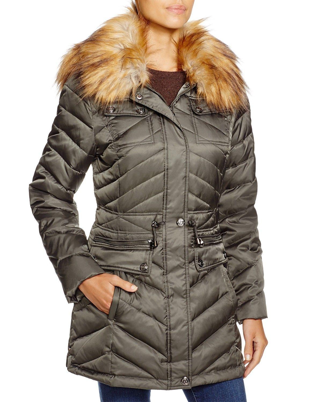 Laundry By Shelli Segal Faux Fur Trim Packable Puffer Coat Abrigos