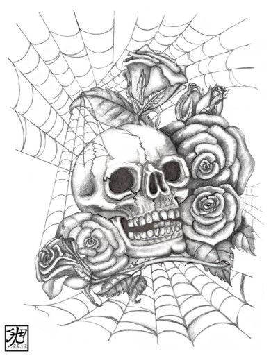 Cool skull and rose drawings sketch coloring page cool