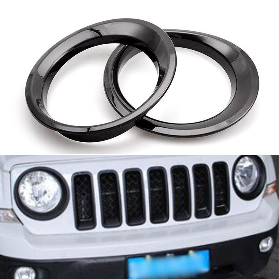 2x Abs Car Front Headlight Head Lamp Cover Trim Ring Styling Sticker Kit Fit For Jeep Patriot 2011 2015 Auto Car Accessories Lamp Cover Car Front Trim Ring
