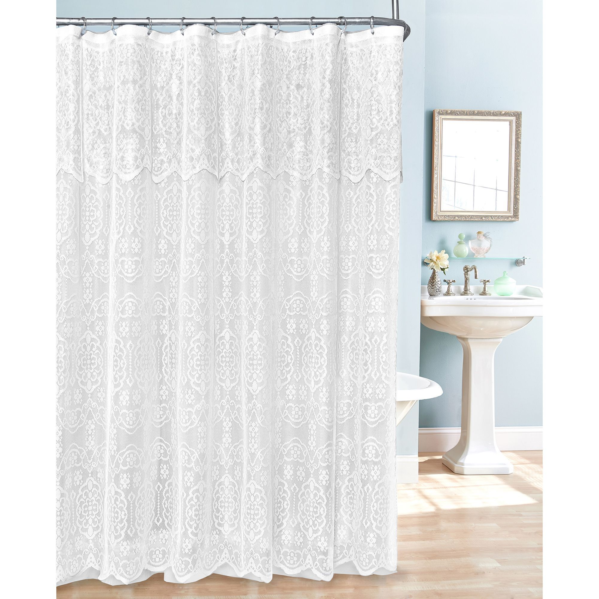 This Beautiful White Lace Shower Curtain Has A Delicate Attached
