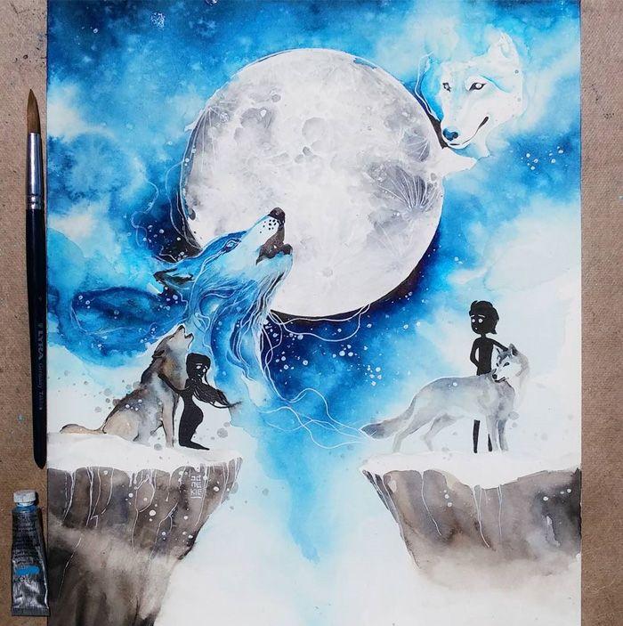 Este Artista Cria Aquarelas Magicas Com Lindos Animais Lobos E