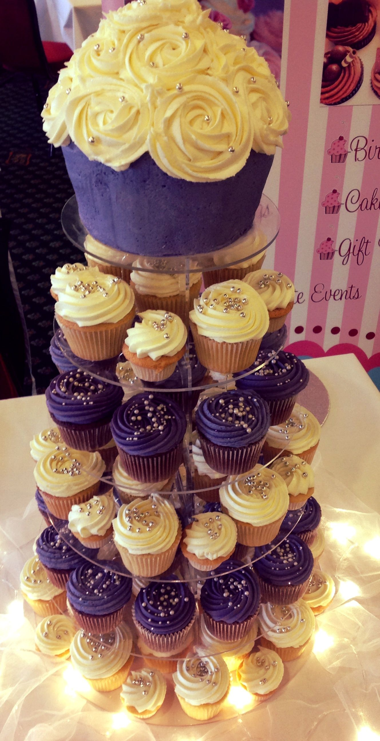 Cadbury purple wedding cupcake tower Cakes