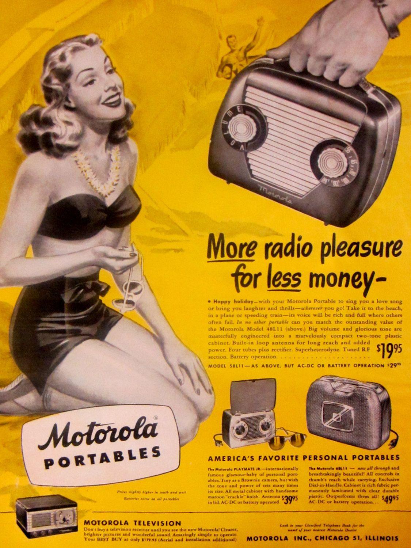 1948 Motorola Portable Radio Vintage Advertisement Pin Up Girl Wall ...