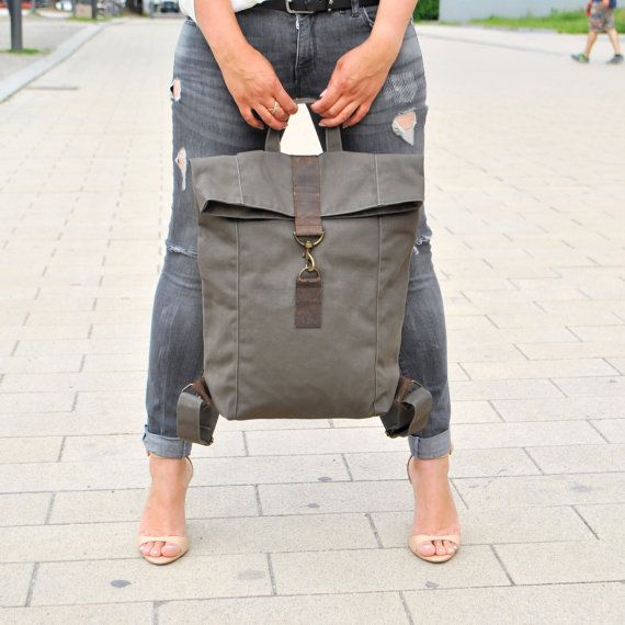 Gray canvas Backpack with leather, UNISEX ,mens bag, women bag, Note ...