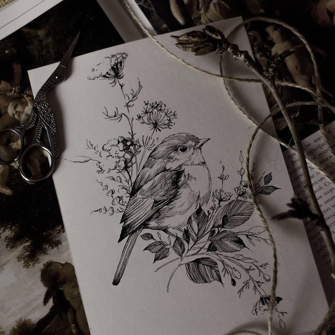 привычным птицы на цветах эскиз тату многообразия виноградных