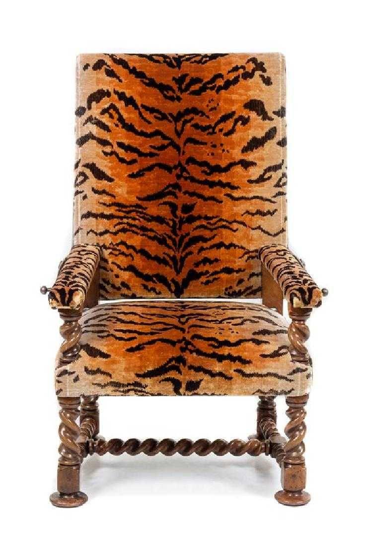 A Continental Walnut Adjustable Armchair Height 48 x ...