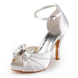 bf504bb5e8fc Satin Talon aiguille Bout ouvert Semelle compensée Sandales Chaussure de  Mariage avec Nœud papillon Boucle (047005118)