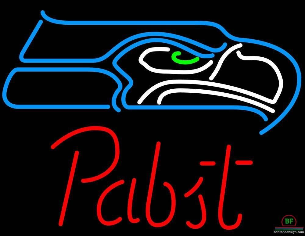Pabst Blue Ribbon Seattle Seahawks Neon Sign NFL Teams