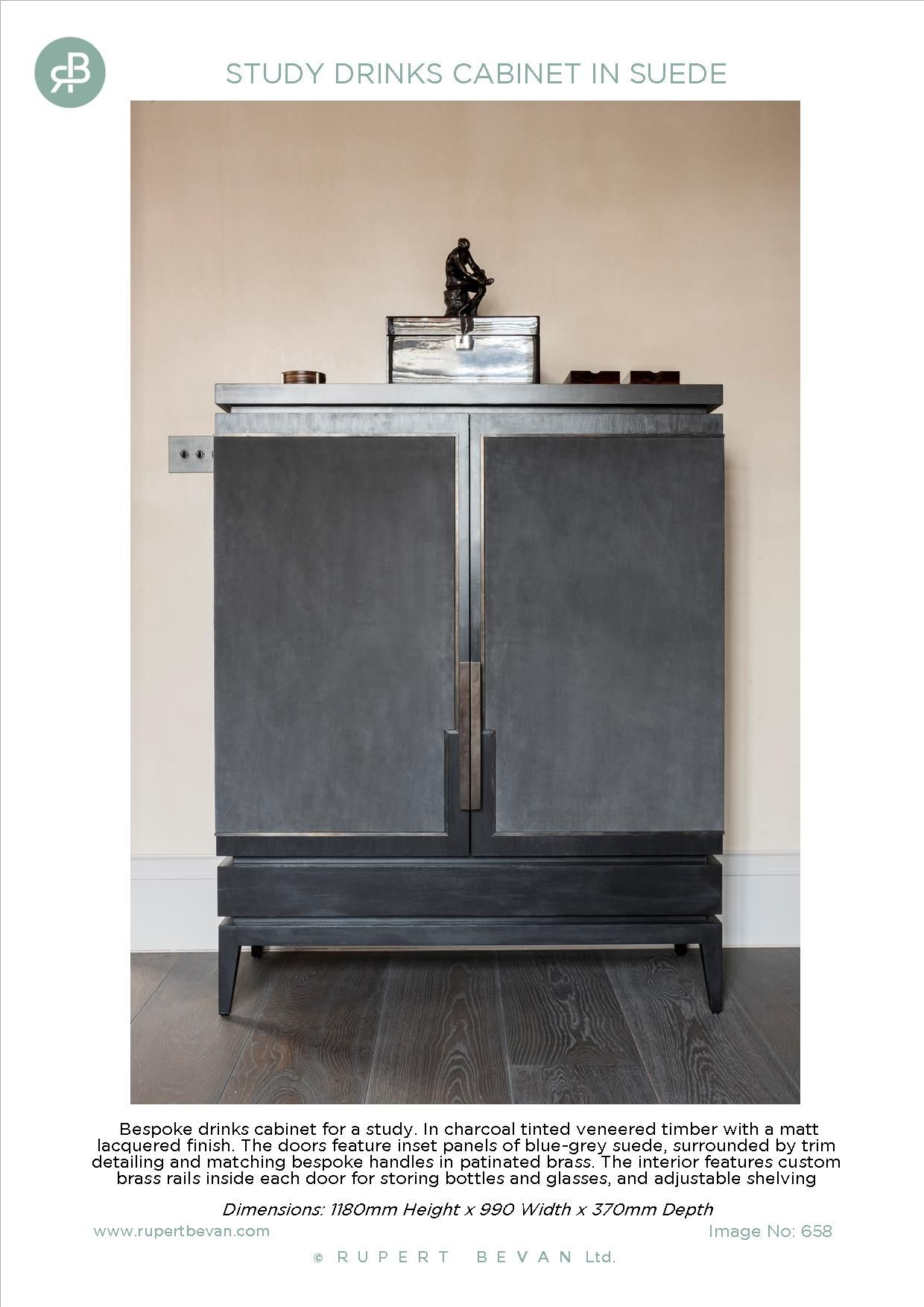 Study Drinks Cabinet Charcoal Tinted Veneer With Matt Lacquer Finish And Suede Blue Grey