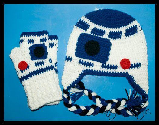 Crochet R2D2 Hat & Fingerless Mittens Set