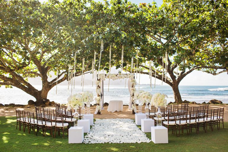 Stunning St Regis Princeville Resort Kauai Wedding Ceremony Venue Location Elegant And Ocean Front At Ni Cove