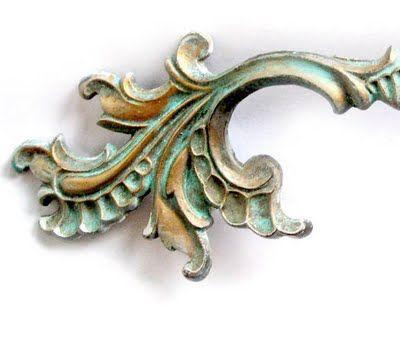 Faux Patina Turquoise on Antique Brass. French Dresser Handles. How -to/Tutorial by The Decorated House