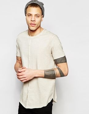 ASOS Longline T-Shirt With Cold Pigment Dye And Seam Detail