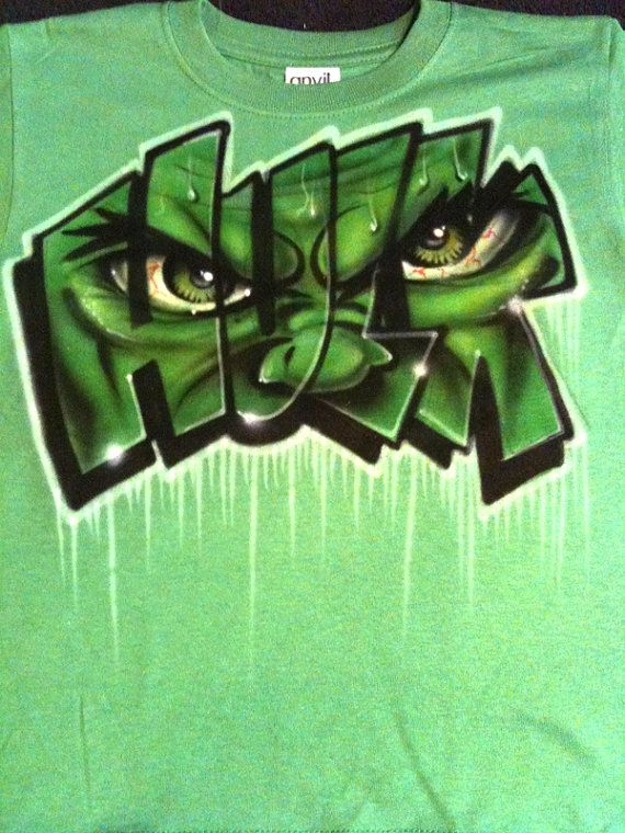 693c8be1f Hulk airbrushed tshirt Adult and kid sizes by StreaksandBlurs, $15.99