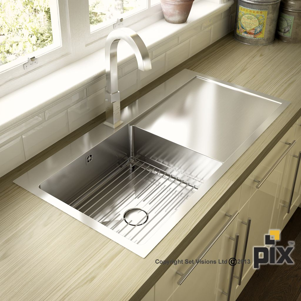 Stainless steel sink with oak worktops and metro tiles ...