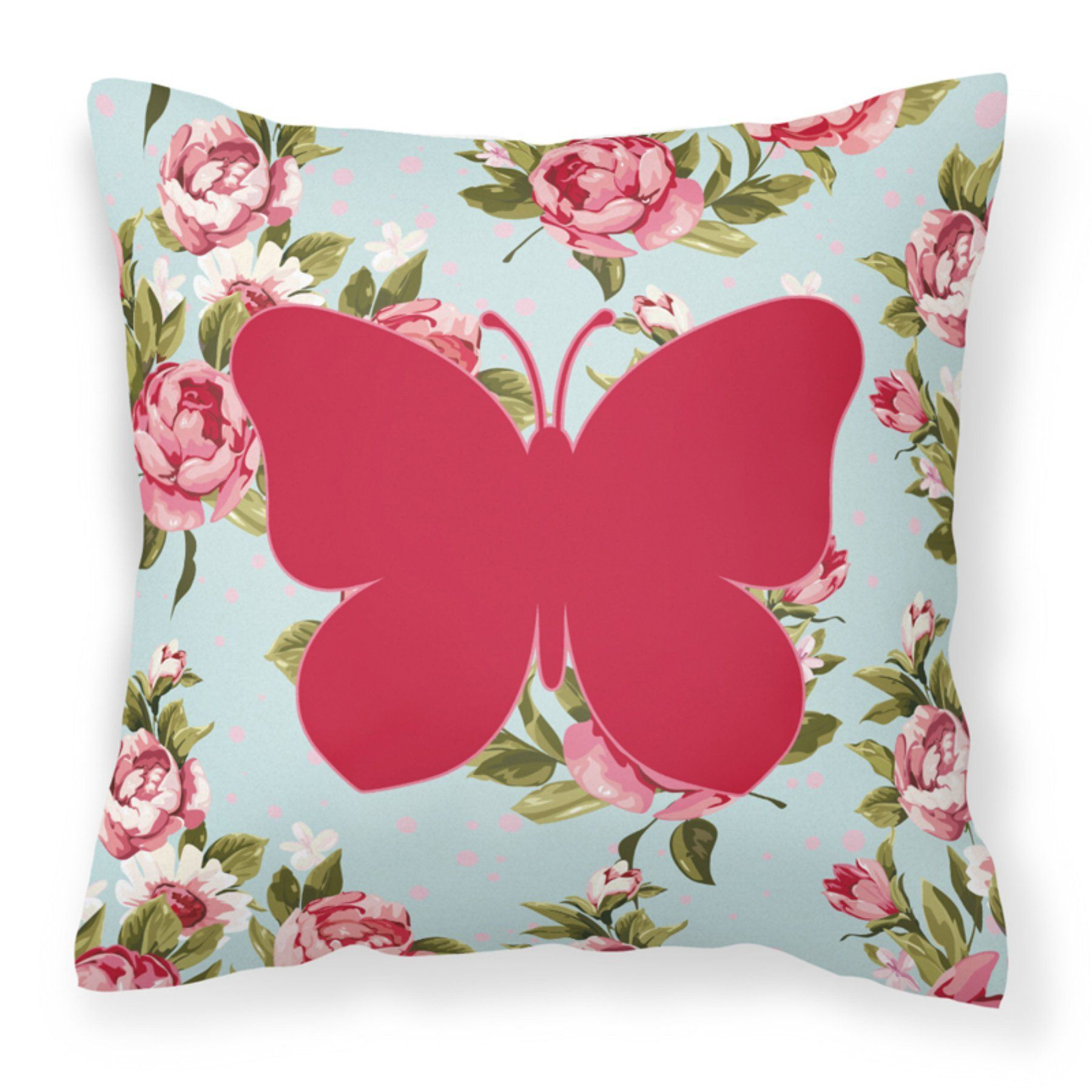 Carolines Treasures Butterfly Roses Polyester Fabric Square Decorative Outdoor Pillow - BB1047-RS-BU-PW1414