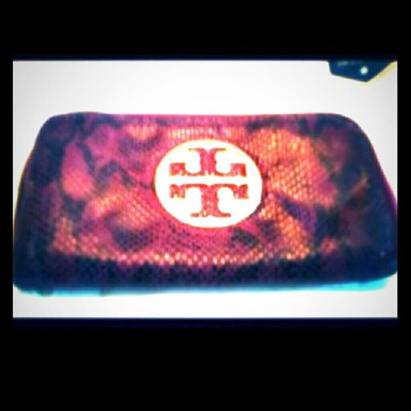 TORY BURCH PYTHON WALLET ..Red and black snake skin wallet well loved....missing out side charm on zipper pull but has one on inside Logo scratched prised according to condition Tory Burch Bags