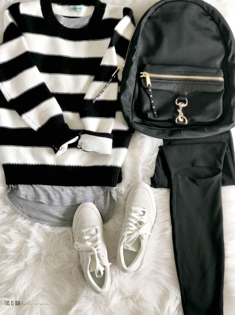 e5e8c7fafbdb8b 5 Outfit Ideas with a Black and White Striped Sweater - One Sweater 5 ways  - Five outfit ideas for a black and white striped sweater - This is our  Bliss