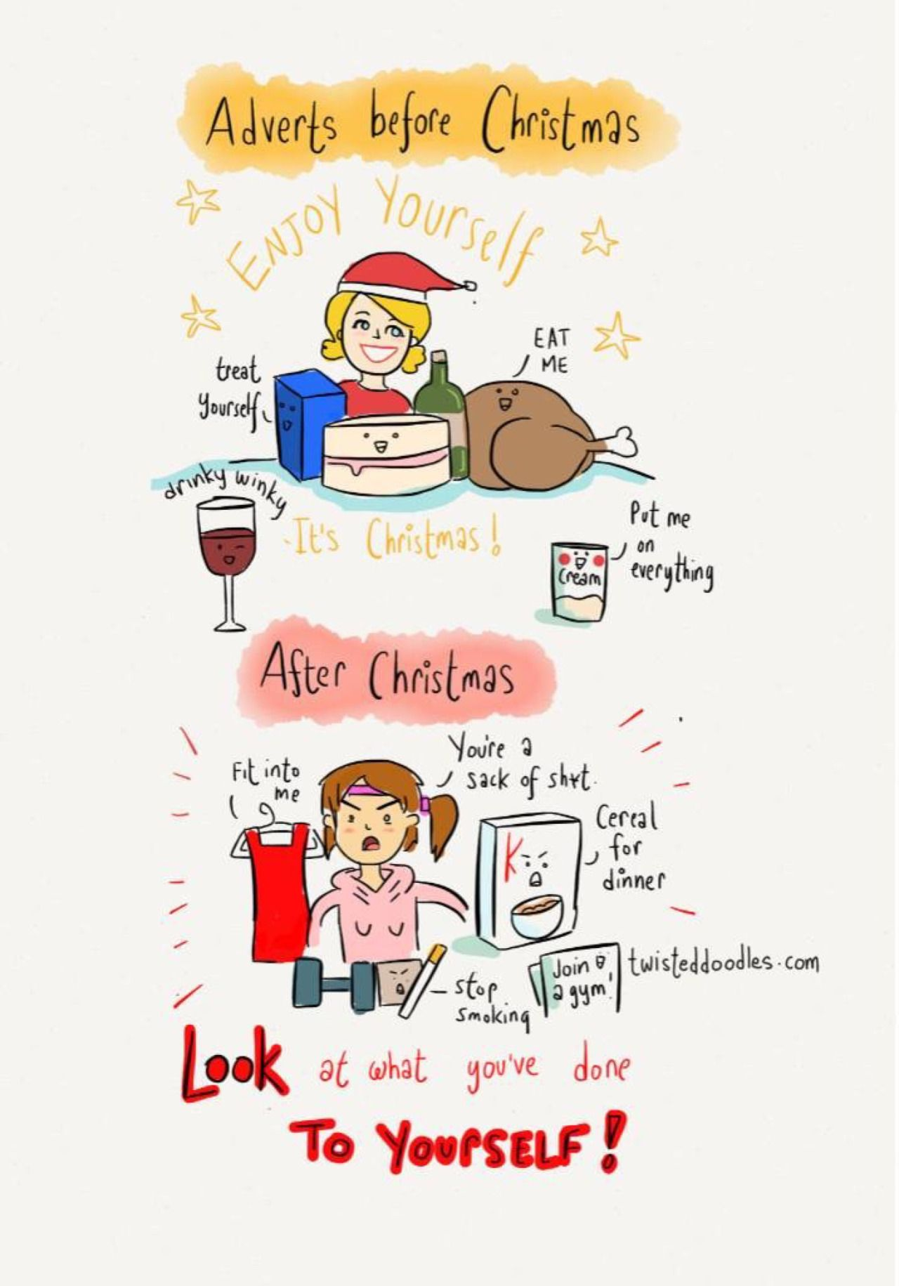 Twisteddoodles Adverts Before And After Christmas