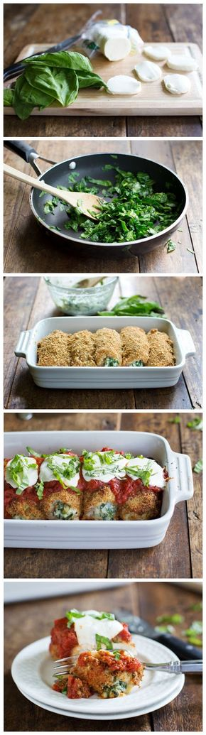 Rollos de pollo con mozzarella y espinaca