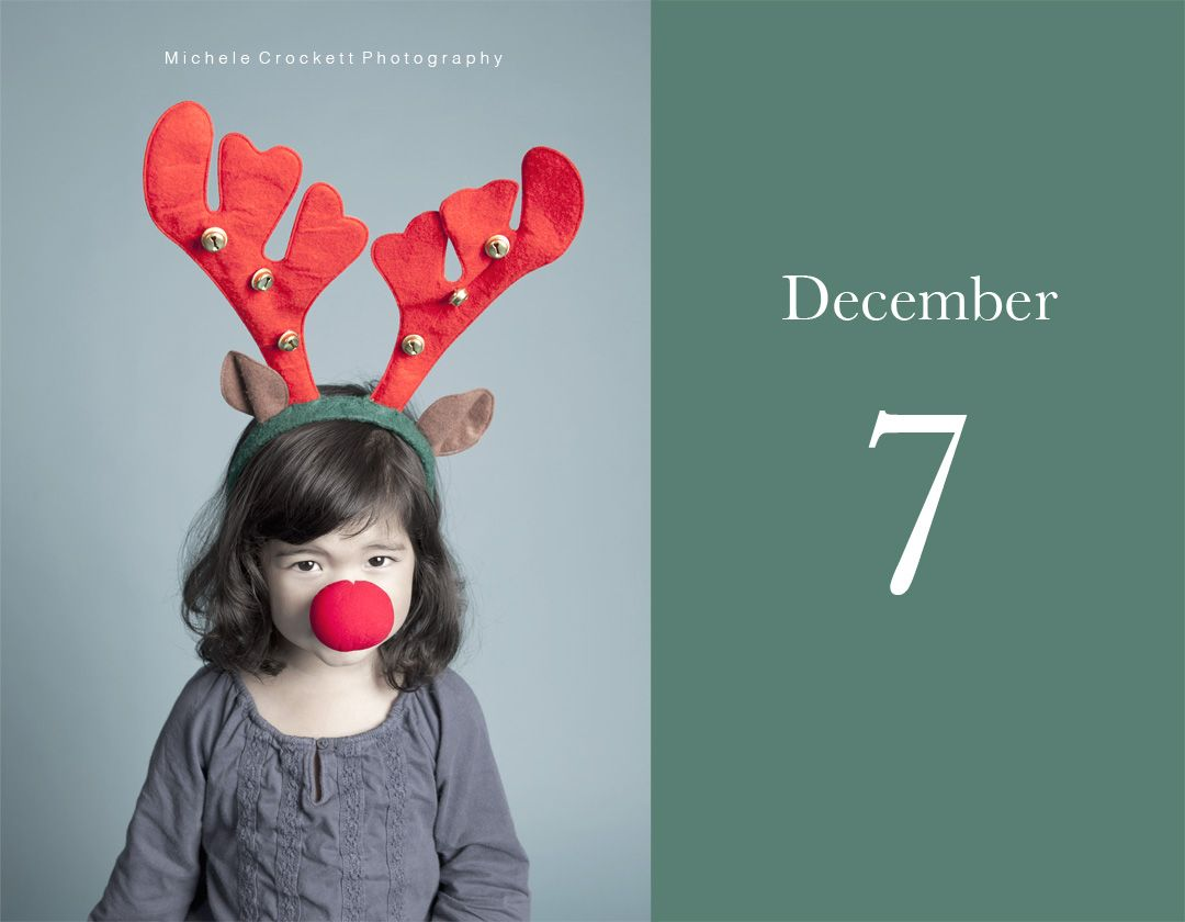 Dec 7- Red nose Lizzie.  www.michelecrockettphotography.com  #countdowntochristmas, #rudolph, #christmasportraits, #kidschristmasportraits